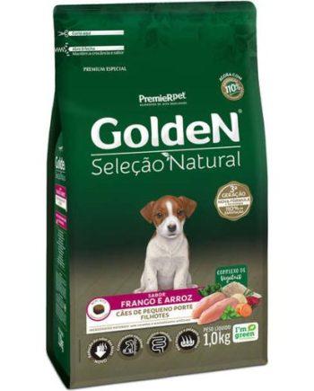 Ração Golden Seleção Natural Cães Filhotes Raças Pequenas Mini Bits Frango & Arroz 1kg