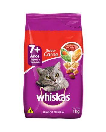 Ração Whiskas 7+ Gatos Adultos Carne 1kg
