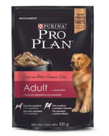Sachê Proplan Cães Adultos Carne ao Molho 100Grs