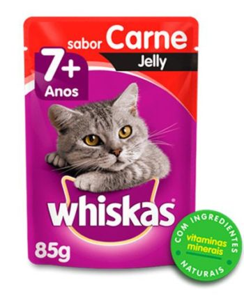 WHISKAS SACHE GATOS ADULTOS 7+ JELLY CARNE 85GR