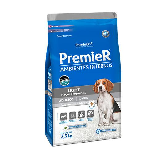 Ração Premier Cães Adultos Ambiente Interno Frango e Salmão Light 2,5kg