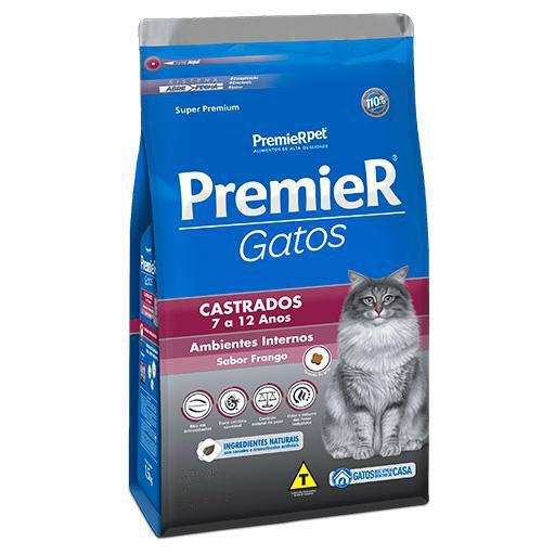 Ração Premier Gatos Castrados 7-12 Anos Ambiente Interno Frango 7,5kg