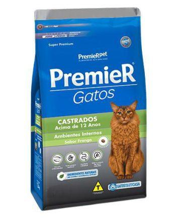 Ração Premier Gatos Castrados Acima de 12 Anos Ambiente Interno Frango 500grs