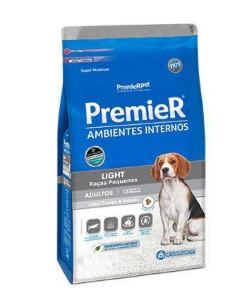 Ração Premier Cães Adultos Ambiente Interno Frango e Salmão Light 1kg